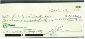 Check from Xavier Ordonez for 157 Linden project